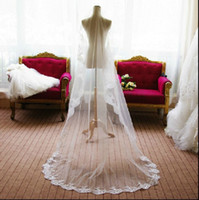 Wholesale 2015 Long Wedding Veil Exquisite Cheap Bridal Veil One Layer Lace Edge Cathedral Length Bridal Veil Wedding Accessories