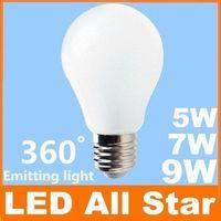 Grossiste - CE ROHS, Energy Star E27 5W 7W 9W ampoules Led Globe lumineux lampe 85-265V Pure/Warm White Led lampe meilleur remplacer lampe halogène + Warra