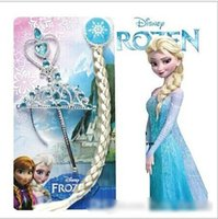 Blending wig clips - 2014 hot sales Princess Hair accessories Crown wig magic wand FROZEN ANNA ELSA free bb clip