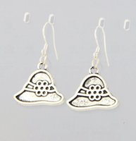 antique hat hooks - 2016 hot Antique Silver Flower Floppy Hat Charm Earrings Silver Fish Ear Hook Chandelier E260 x20 mm