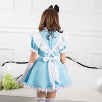 alice in wonderland costume girls - 2015 New Arrive Alice in Wonderland Costume for Women Sexy Maid Uniforms Blue Light Sound Girl Servant Cosplay Free Size