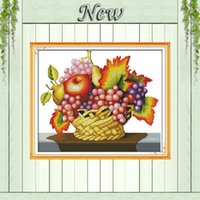 apple harvest - A good harvest fruits basket apple painting counted printed on canvas CT CT kits DMC Cross Stitch embroidery needlework Sets