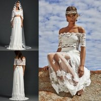 two piece wedding dress - 2015 Two Piece Wedding Dresses with Half Sleeves Off Shoulder Chiffon Lace Wedding Party Dresses Summer Beach Wedding Dresses with Veils