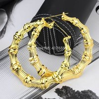 bamboo earrings - 1pair women Bamboo Joint Double Big Punk golden Hoop Large Circle Earrings hot selling