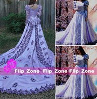 purple plus size wedding dresses - Light Purple gothic hand dyed Lace wedding dresses with Long Sleeves cut out detail and cathedral train Satin Vintage Bridal Ball Gowns