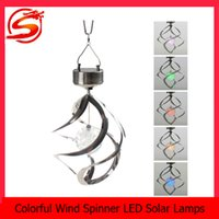 wind power - new arrival Solar light Powered Color Changing lamp Wind Spinner LED Light Hang Spiral Garden Lamp LEG_055