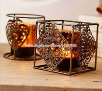 Wholesale Vintage European Bronze Colour Iron Art Candle Holder Bohemia Style Oil Burner w Artificial Ruby Stone for Home Decor
