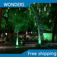 El mejor precio al por mayor-10pc / set 56cm doble lado LED de Navidad de Navidad de luz de la secuencia tubo de caída decoración de la nieve llevada a llover luz del tubo de meteoritos