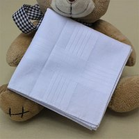 Wholesale High Quality Solid Men Handkerchief Pure Cotton Designer Square Scarf White Color Soft Thin Handkerchief for YHY1400115