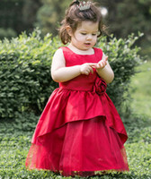 New Baby Girls Noël robe enfants Stereo fleurs veste robe de soirée robe rouge satin robe enfants robe Pageant A7075