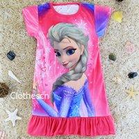 Wholesale Disnep Hot Item Frozen Pyjama Elsa Anna Summer Children Shortsleeve Cartoon Kid Girl s Nightgown Snow Romance Nightie Special