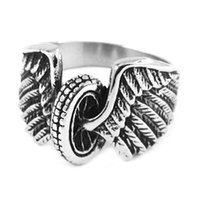 american motorcycle tires - Eagle Wings Motorcycles Tire Biker Ring Stainless Steel Jewelry New Design Fashion Motor Biker Men Ring SWR0313