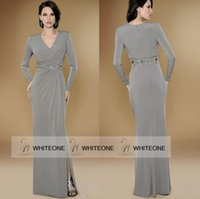 Cheap New Grey Blue Long Sleeve Chiffon Mother Of The Bride Groom Dress Mermaid Side Slit Floor Length Prom Gown With V Neckline Plus Size