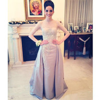 Wholesale Satin Beaded Evening Gowns Evening Gowns Mermaid Trumpet Long Sleeve Hollow Lace Part Dresses Jewel Exquisite Fashion