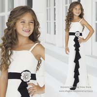 Wholesale Cheap Flower Girl Gowns Wedding Black And White Chiffon Sash Long Junior Bridesmaid Dress F125