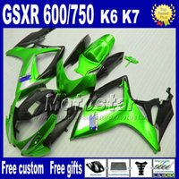 Wholesale Plastic fairings set gifts for SUZUKI GSX R bright green black ABS fairing body kits GSXR600 GSXR750 K6 VD11