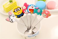 baby tea sets - Set Cartoon silicone handle stainless steel spoon Minions cat style coffee spoon tea spoon Animal baby spoons