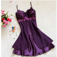 Wholesale Summer Wome Lace Spaghetti Strap Nightgowns Chiffon Silk Sexy Sleepwear Sleepshirt Women Plus Size S M L Colors