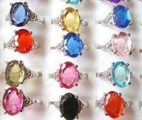 wholesale bulk jewelry - silver tone Rings lucite resin rhinestone jewelry bulk F01