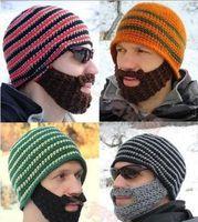 Wholesale Hats Beanie Skull Caps Bearded Knitted Hats Vikings Horn Knitted Hat Warmer Ski Bike Skull Hat Unisex Men Children Beard Cap