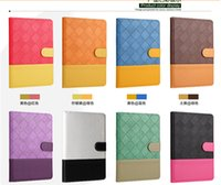 Wholesale For iPad Air Case Flip sleep wake Contrast color Gird Leather case Suede Wallet card cover with stand holder for ipad air mini New