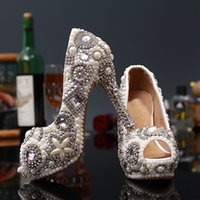Wedding ankle strap pumps photo - 2016 new fish mouth diamond ultra high heel photo shoes pearl wedding shoe crystal bride wedding shoes female marriage