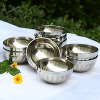 Wholesale 2016 The New Arrival High Quality Stainless Steel Bowl inch Double layer Insulated Welding Edge Tableware Silver