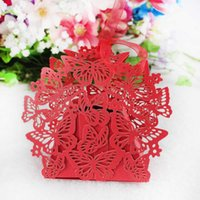 Wholesale 50Pcs Romantic Wedding Favor Box With Organza Ribbon Birthday Party Laser Cut Butterfly Candy Boxes