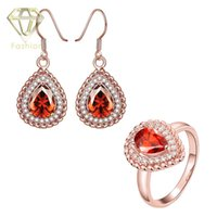 Wholesale K Rose White Gold Plated Water Drop Sapphire Jewelry Sets with AAA Cubic Zirconia Rings Earrings