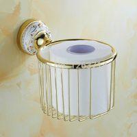 bathroom wastebasket - Bathroom Accessories Golden bronze copper antique wastebasket paper towel holder cosmetics basket toilet paper holder HJ K