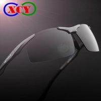 Wholesale 2016 Original Brand Sports Driving Mens Polarized Sunglasses Outdoor Fishing Riding Glasses Aluminum Magnesium Alloy Half Frame