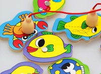 baby fishing pole - NEW Children s double pole magnetic fishing toys Wooden baby kitten fishing jigsaw puzzle the CYZ280