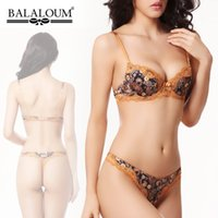 Cheap Vintage peacock print young women lace bra set plus size,intimates sexy push up bra and panty set B C cup bra thong set BS254