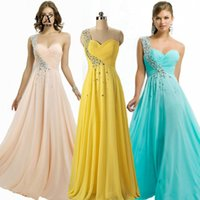 Wholesale A line New Arrival Cheap Long Prom Dress Empire Sweetheart One Shoulder Sleeveless A Line Floor Length Pleat Crystal Beads Chiffon Gown