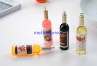 Mini Wine Moda 3D cuello de botella de teléfono celular Correa de cordón teclas encantos del coche llavero de accesorios para teléfonos cadena clave envío libre