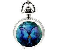 acrylic dreams - Vine pocket watch Classic design dream butterfly enamel White steel Flip clock children woman pendant chain watches