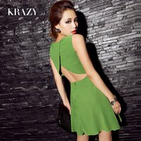 krazy dresses - Krazy hot selling summer vintage slim waist dress fashion sexy fashion racerback chiffon one piece dress