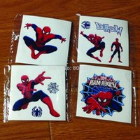 Wholesale 1200pcs x5cm ECO FREINDLESPIDER MAN Tattoo Sticker Temporary Tattoo Stickers Spiderman Cartoon Tattoos DHL Free Fast Shipping