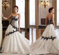 Wholesale 2015 Black And White Weddding Dresses A Line Gowns Applique Ruffles Sleeveless Strapless Pleated Vestido De Novia CorsetBridesmaid Gowns WXC