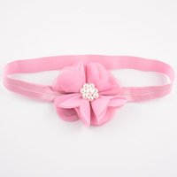 beauty centre - New Arrival Color cm Baby Girls Chiffon Flowers Headbands With Pearl Centre Kids Hair Beauty DIY Accessories