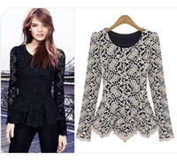 Wholesale Elegant Sexy Women Long Sleeve Lace Peplum Jumper Top Blouse Hot Clothes Black Navy Beige Colors