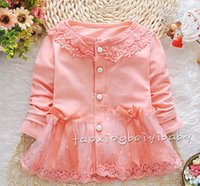 Wholesale Spring Autumn Little Girls Cardigan Long Sleeve O Neck With Lace Baby Kids Tops Fashion Leisure Children Princess Coat T796