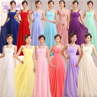 aqua bridesmaids dresses - NEW women wedding two shoulder bridesmaid sleeveless chiffon dress party evening long pleated lilac purple aqua dresses plus size under