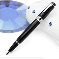 Wholesale Top quality Best Design Black International Standard Roller Ball Pen With Black Onyx On Silver Clip