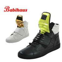 velcro - Babihaus Unitex Cowhide Genuine Leather Casual Shoes Women Men Fashion High Top Sneakers Velcro Closures Flat Lovers Shoes