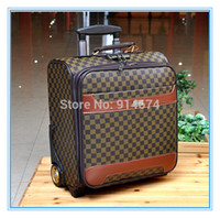 Wholesale high quality Luggage sets Classic style luggage Bag travel suitcase pu universal wheels inch Brown