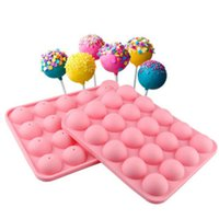 Wholesale Chocolate Lollipop Molds Wholesale - 2pcs 20 Cups Lollipop Molds Silicone Cake Chocolate Cookie Mould Silicone Bakeware DIY Cake Baking Tray Tools CL013