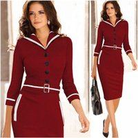 ladies fashion wear - 2015 New Fashion Vintage Women Work Dresses Elegant Business Formal Pencil Dress Summer Office Women Career Dresses Ladies A017