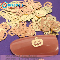 metal art - Min order Pumpkin Lamp Metal Sticker Decora Gold Nail Art Metal slice wheel tiny gold decals accessory DIY