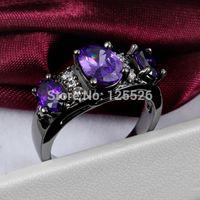 Cheap Victoria Wieck Three-stone jewelry Amethyst Simulaed Diamond 10KT Black Gold Filled wedding Band Ring Sz 5-11 Free shipping